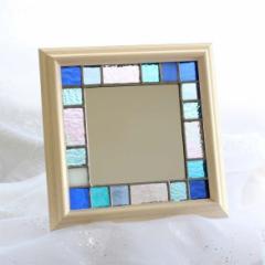 ステンドグラスの小さなフレーム・ミラー/Summer Blue 記念日 ギフト プレゼント ハンドメイド