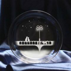 猫モチーフのガラス小皿 【橋を照らす街灯の下で】 ねこ ガラス 皿 誕生日 記念日 プレゼント ギフト ハンドメイド