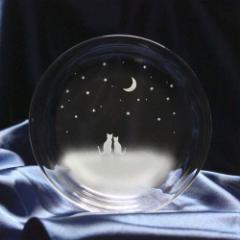猫モチーフのガラス小皿 【一緒にみる三日月の夜空】 ねこ ガラス 皿 誕生日 記念日 プレゼント ハンドメイド