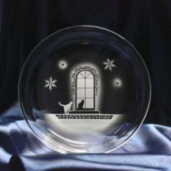 猫モチーフのガラス小皿 【冬の洋館】 ねこ ガラス 皿 誕生日 記念日 プレゼント ハンドメイド