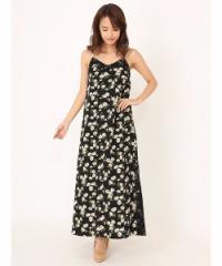 DURAS 裾スリット花柄ロングワンピース D1290239
