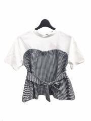 SPIGA ギンガム柄ビスチェ切替Tシャツ SDY1804-019