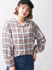 WEGO チェックオープンカラーシャツ BR18AU08-L055