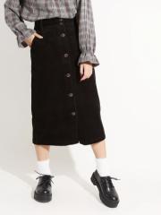 WEGO コーデュロイ前ボタンナロースカート BS18WN10-L004