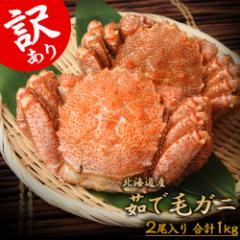 蟹 カニ かに 毛蟹 けがに 北海道産 最高ランク堅蟹 訳あり 2尾 合計1キロ 大小コミ 冷凍