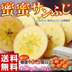 りんご リンゴ 送料無料 青森県産 蜜蜜サンふじ 約3キロ (7〜13玉) 糖度13.5度以上 岩木山りんご生産出荷組合
