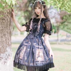 18673315293cd ロリータドレス lolita ロリィタ クラシカルジャンパースカート ジャンスカのみ jsk フロントリボン フリル レース 黒ロリ