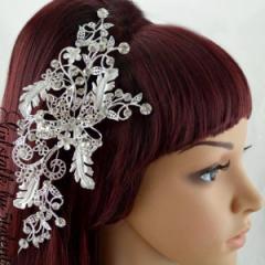 【激美☆ヘアアクセ】リボン&リーフモチーフ★ワイヤー入りでフリーに曲げられる♪簡単装着ヘッドドレス♪【キャバ/結婚式】