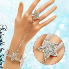 【新作★ブレスリング】遠目にも目立つ大ぶりの星型モチーフ☆手先が綺麗に映えます♪ギフト・プレゼントにも♪