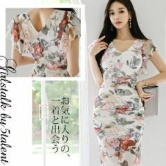 【Lサイズ】透け感ドットチュールレースにフラワー柄が可愛い!雰囲気美人のミディ丈ワンピース♪一枚で楽ちんミモレ丈ドレス