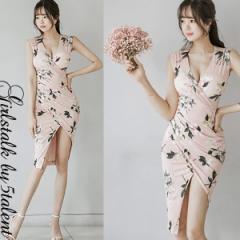 【Lサイズ】ほどよくタイトな大人の雰囲気ピンク系フローラル柄!ラップ風デザインが綺麗なミニワンピース♪一枚で最高ドレス