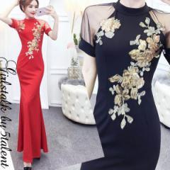 繊細なスパンコール刺繍の新作スリーブ付き半袖チャイナ 中華ドレス シースルー袖口チュールレースきれいな誘惑ロングドレス♪