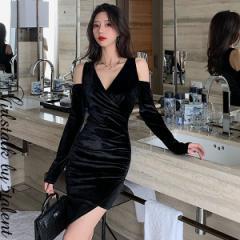 雰囲気のあるスリーブ付き 肩出し ベロアスウェード ブラック ロックな雰囲気ミニワンピース★動きやすいシンプルなデザイン フォーマル
