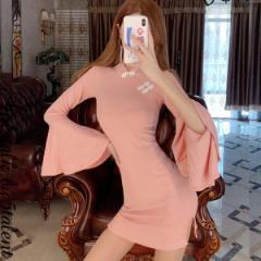 ほしかった♪広がるスリーブの魅惑のチャイナドレス★ピンクにラメ入り♪ストレッチが効いてて着やすいコスプレ系ミニ【キャバドレス/ミ