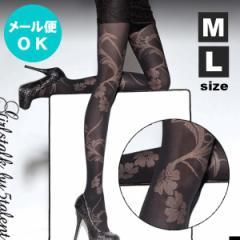 【2サイズ】ブラック地にフラワー柄★ほどよい透け感の40デニール★華やかに目立つデザインパンティストッキング タイツ【メール便OK】