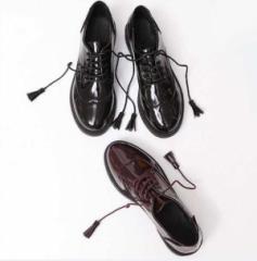 オックスフォードシューズ ローヒール エナメル靴 レディース ラウンドトゥ レースアップ 厚底 美脚 エナメル ぺたんこ 大きいサイズ