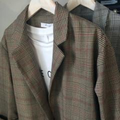 レディーススーツジャケット カーキ色のチェックのジャケット カジュアルスーツジャケット