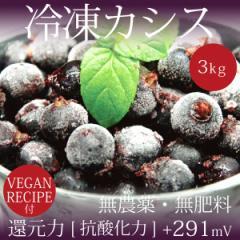 無農薬・無肥料 冷凍カシス 3kg ヴィーガンレシピ付き MOA自然農法 還元力[抗酸化力]+291mV