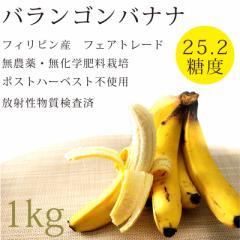 無農薬・無化学肥料 バランゴンバナナ1kg放射性物質検査済[糖度25.2]