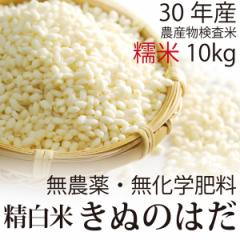 【30年産】無農薬 もち米 精白米 10kg 無農薬・無化学肥料・秋田県産 きぬのはだ