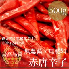 赤唐辛子トウガラシ 500g 無農薬・無肥料・香川県 ・還元力(抗酸化力)+241mV