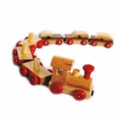 木製おもちゃ 磁石付き連結 汽車ポッポ  木のおもちゃ きしゃ 玩具 ウッドトイ