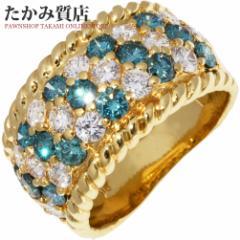 K18YG ブルーダイヤ1.03ct/ダイヤ1.15ct 指輪(リング) 9号