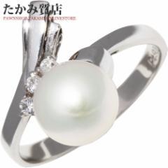 Pt900 パール(真珠)8ミリ/ダイヤ0.07ct 指輪(リング) 12号