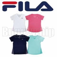 レディースシャツ FILA フィラ Tシャツ 半袖 ホワイト ピンク ネイビー グリーン