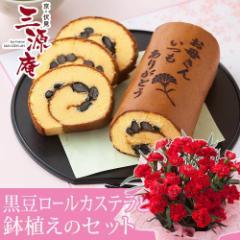 母の日 フラワーギフト 花とセット 送料無料 鉢植えセット「京・伏見 三源庵 黒豆ロールカステラ」