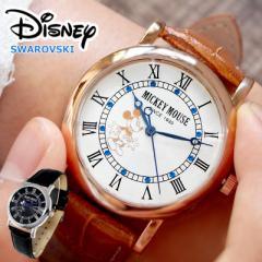ディズニー 腕時計 ノーブルミッキー 腕時計 全2色 Disney 本牛革ベルト スワロフスキー レディース メンズ ユニセックス