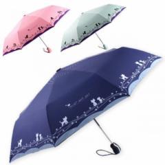 折りたたみ日傘 自動開閉 遮光 紫外線 UVカット 可愛い猫ちゃんデザイン Natural Stuff ナチュラルスタッフ