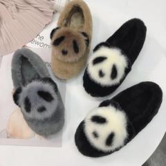 秋冬人気♪ ファーパンプス レディース パンプス フワフワ 歩きやすい フラットシューズ靴 ペタンコパンプ パンダ かわいい もこもこ 3色