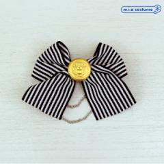 1283A▲【送料無料・即納】 ブローチ ストライプリボン 色:ブラック