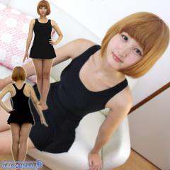 1239C/B■【送料無料・即納】 パッド付きの本物スカート付きスクール水着 色:黒 サイズ:M/L/XL/XXL
