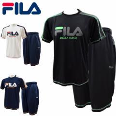 フィラ fila 半袖Tスーツ メンズ Tシャツ ハーフパンツ  サマーセットアップ上下 夏 吸水速乾 ドライ 部屋着 FM5156【レターパックも対