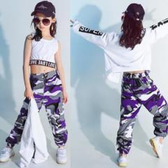 キッズダンス衣装 ガールズ ヒップホップ 迷彩パンツ ジャケット Tシャツ セットアップキッズ パンツ トップス ダンス衣装 キッズ