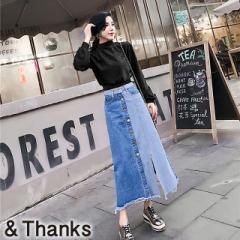 春コーデ 切り替えデニムスカート 1カラー3サイズ
