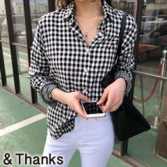 春コーデ ギンガムチェックシャツ 1カラー2サイズ