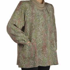 ちりめんチュニックスモック シニアファッション エプロン 敬老の日 プレゼント