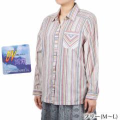 長袖ブラウス UV加工 綿100%  M〜L 婦人服 シニア レディース シャツ 春夏