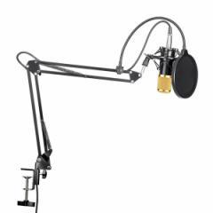 高音質 コンデンサーマイク フルセット 卓上マイク 3.5mmミニプラグ/PC対応 (音楽/スタジオ録音/宅録/生放送/ゲーム実況/カラオケ)