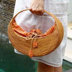 アタで編まれた アジアン カゴバッグ Gタイプ オレンジ色2921 かごバッグ おしゃれ トートバッグ カゴバッグ 夏 アジアンバッグ 春 カバ