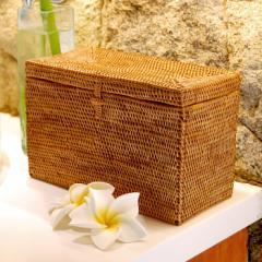 アジアン雑貨 アタ製フタ付き小物入れケース 長方形タイプ