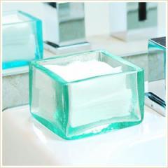アジアン雑貨 手作りガラスで出来た四角いコットンケース 8x8cmロータイプ