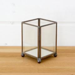 キャンドルホルダー ガラス 真鍮 長方形 西海岸 男前