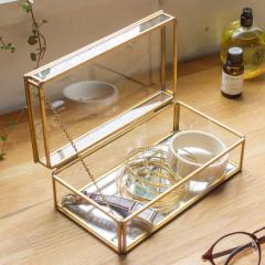 収納ケース ストッパー付き ガラス 真鍮 ゴールド