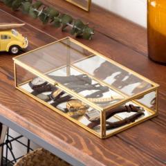 ジュエリーボックス フタ付き ガラス 真鍮 ゴールド