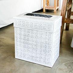 アルミ製インナー付きゴミ箱 スクエア型 ホワイト