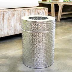 アルミ製インナー付きゴミ箱 ラウンド型 シルバー